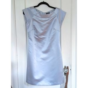 BCBG Steel Blue Satin Sheath Cap Sleeve